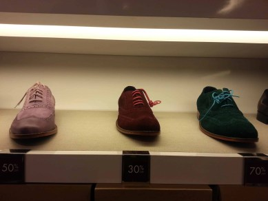 Oxfords in different colours on display at Cole Haan.