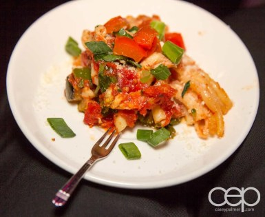 Vegetable pasta at the Women's Brain Health Initiative launch party.