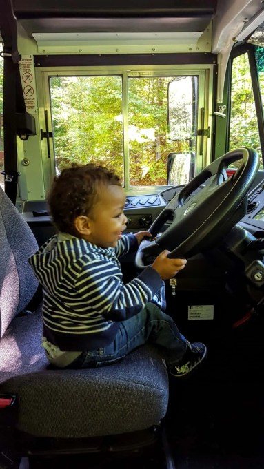 Drive Your Way to Delight at isure.ca! — Little Man Behind the Wheel of a Bus