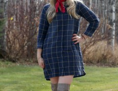 Plaid Dress and Over the Knee Boots