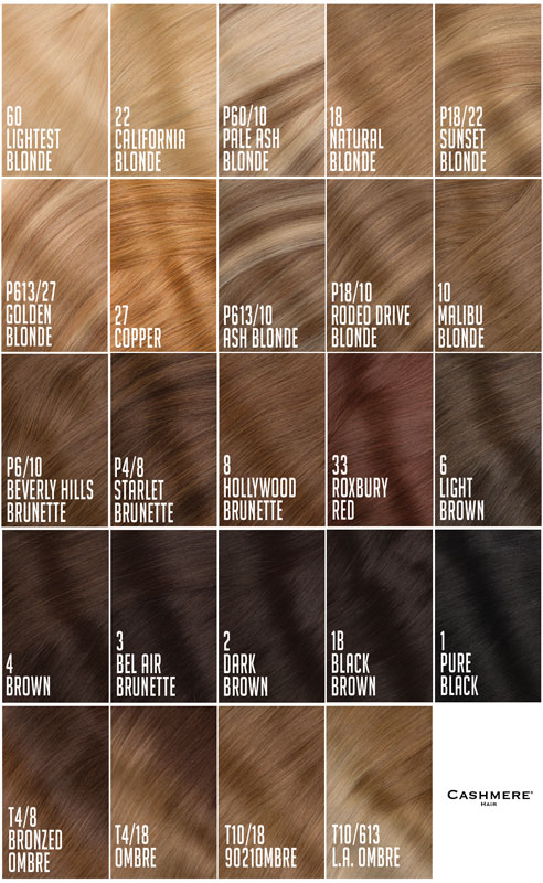 Cashmere Hair Extensions Color Chart - hair color chart