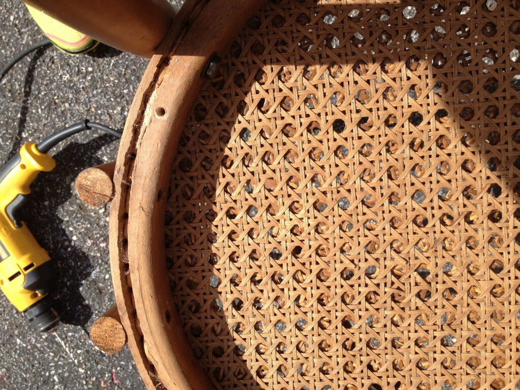 adding new upholstered seats to caned chairs