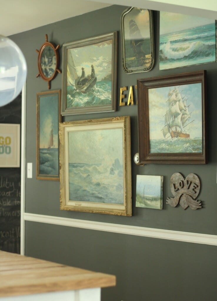 dining room nautical seascape vintage moody gallery wall