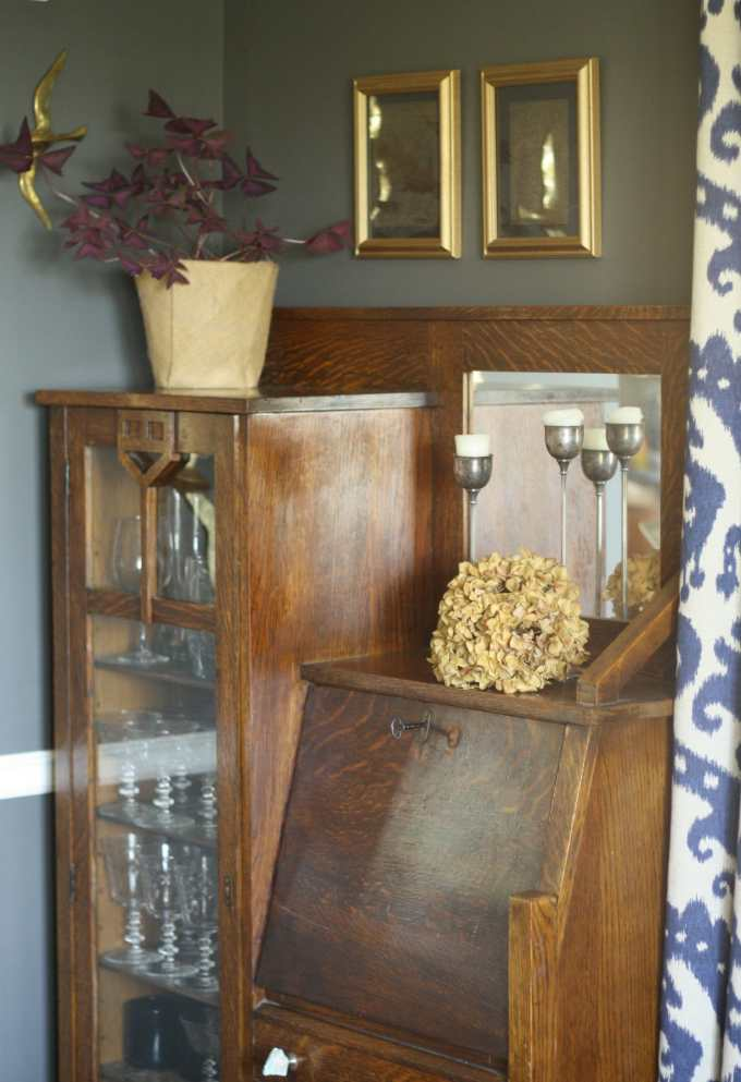 #EclecticallyFall dining room secretary as bar cabinet