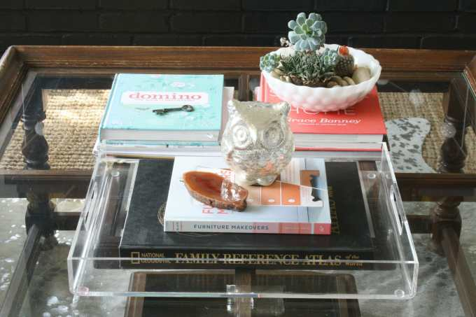 #EclecticallyFall coffee table styled with owl