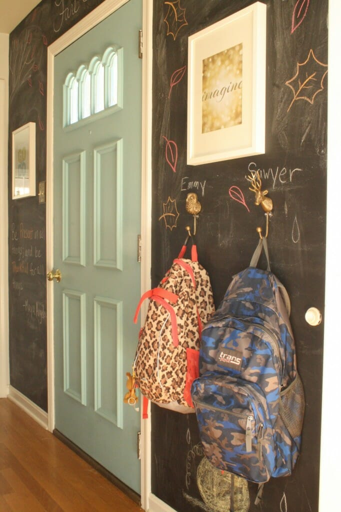 chalkboard entry hall wall decorated for fall