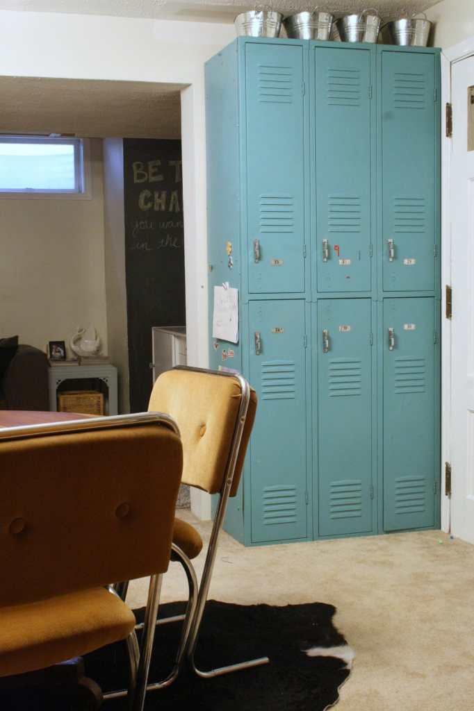 vintage lockers as playroom storage