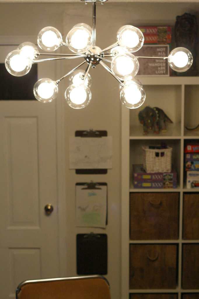 lamps plus sputnik light in playroom