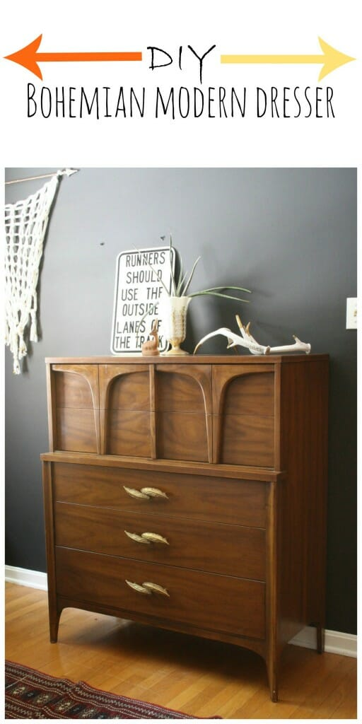 Bohemian Modern Dresser with Feather Pulls