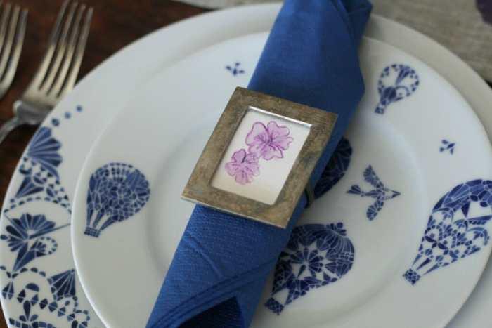 watercolor flower napkin ring