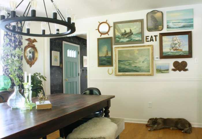 Vintage Nautical Gallery Wall; Eclectic Dining Room