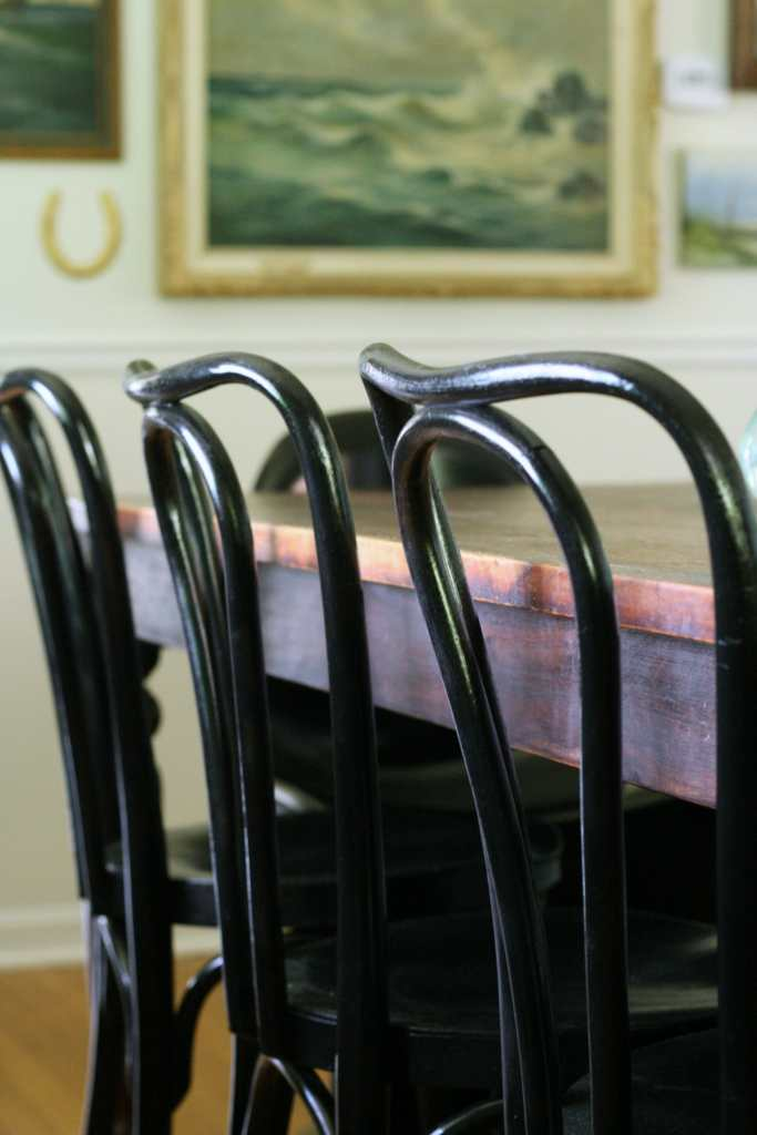 black bentwoods in dining room