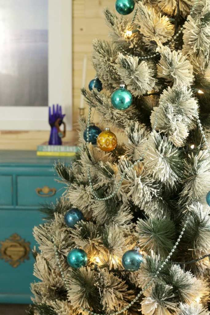 Vintage flocked tree with aqua and gold