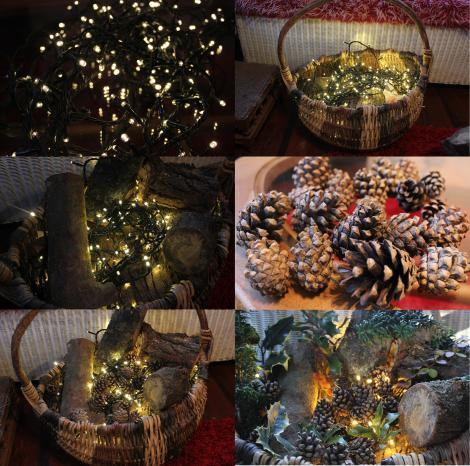 diy craft tutorial christmas decorations log basket xmas porch with fairy lights Cassiefairy