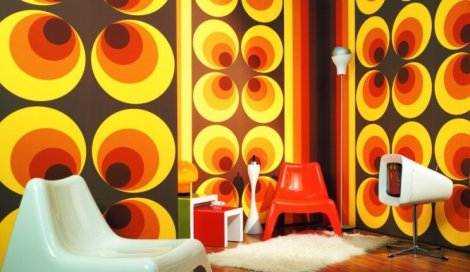 retro 70s living room wallpaper circle pattern brown orange yellow