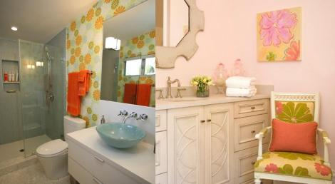retro bathrooms 60s flower power decor style