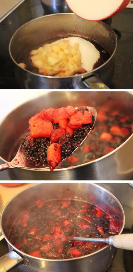 making preserves - blackberry and apple jam recipe process