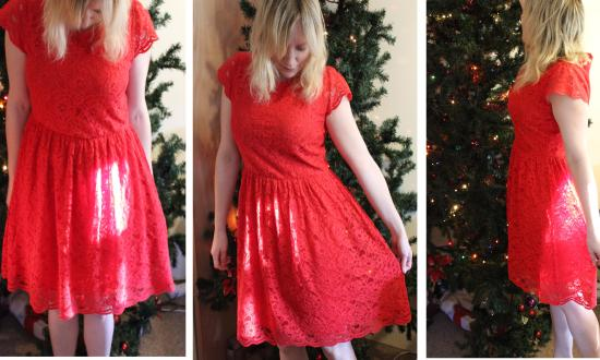 my red lace birthday dress from la redoute