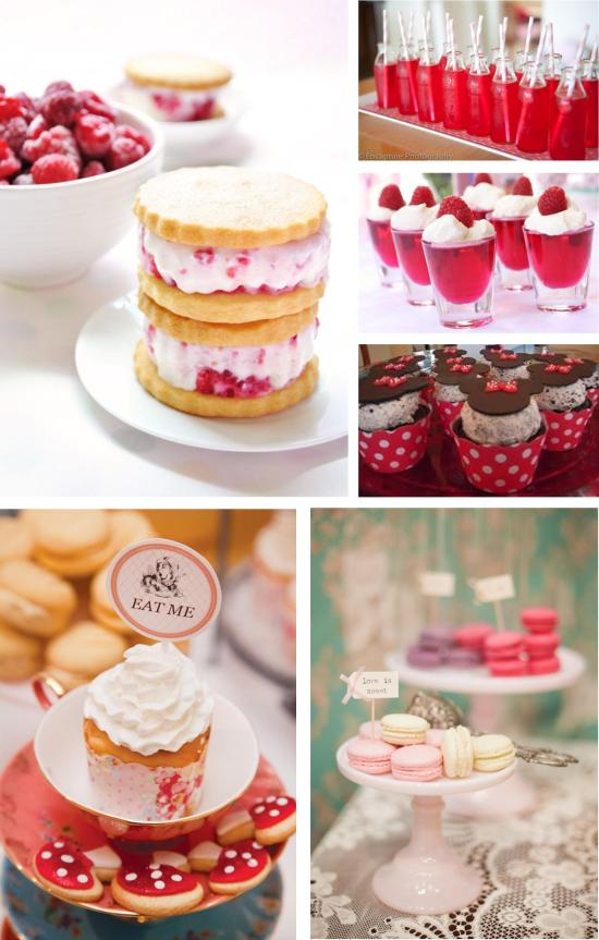 red and pink cakes themed birthday party food