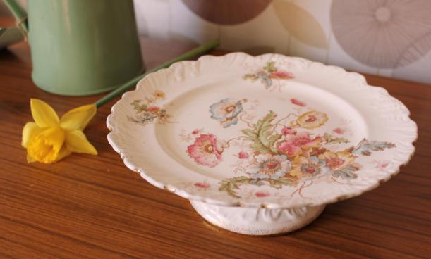 spring floral cake stand saved from skip