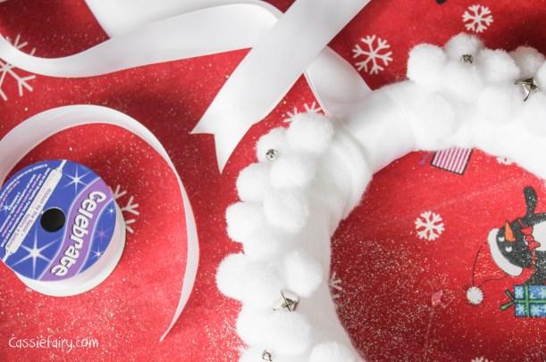 Deck the Door DIY snow ball christmas wreath-9