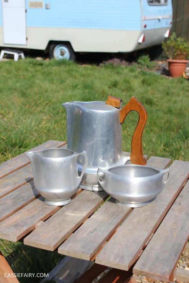DIY polishing midcentury modern silvertea set picquot ware teapot