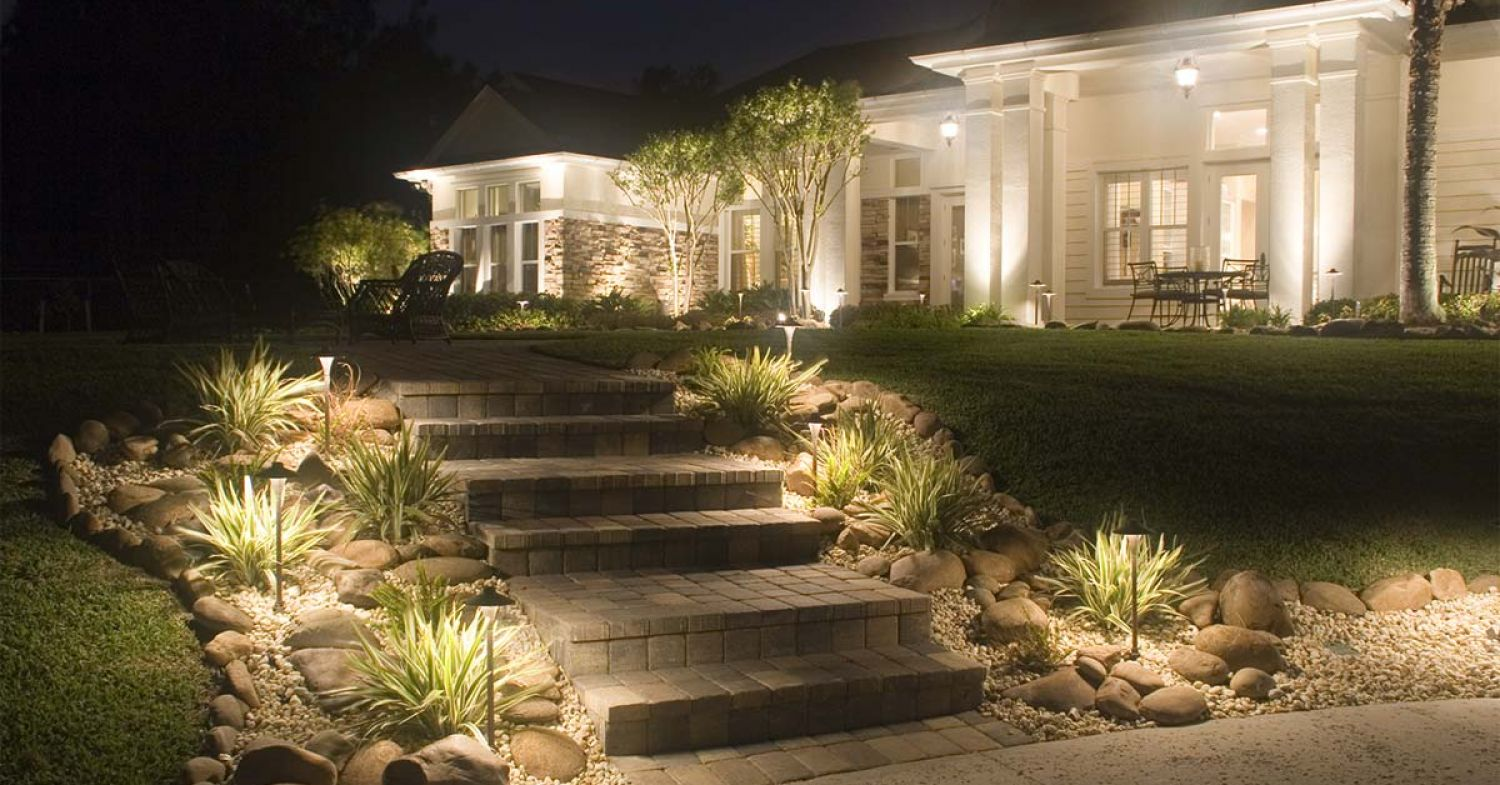 Using Cast Lighting For Perimeter Wall Security 5 Great Ways To Light Your Outdoor Steps Outdoor Landscape Security Solutions Cast Lighting
