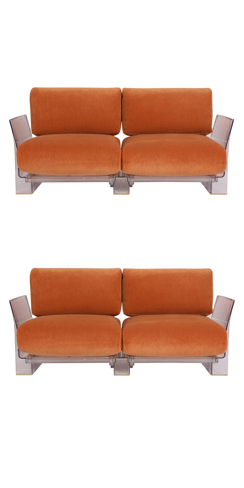 Kartell Sofa Pair Of Lucite Love Seats Sofas By Piero Lissoni For Kartell