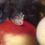 detail from Still Life of Fruit on a Kraak Porcelain Dish, Balthasar van der Ast, 1617