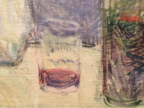 a nearly empty glass in a 1880s French painting