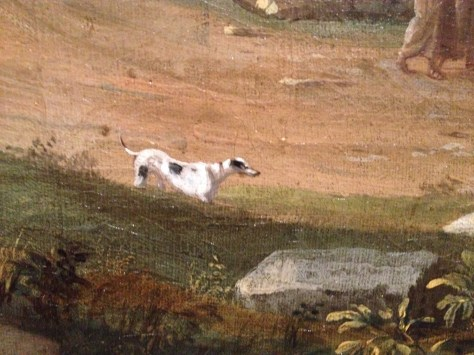 a dog in a 1700s Dutch painting