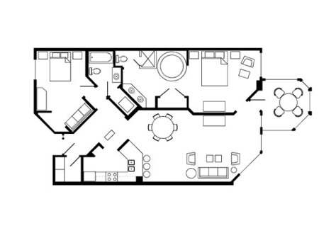 Marriott Cypress Harbour apartment floor plan