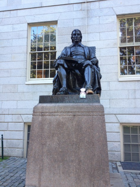 statue of John Harvard, aka Statue of Three Lies, with Flat Stanley at his feet