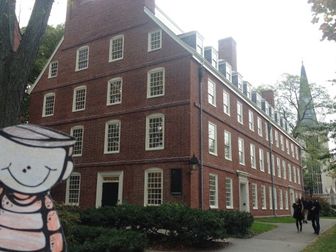Massachusetts Hall, the oldest building at Harvard University, with Flat Stanely in the foreground