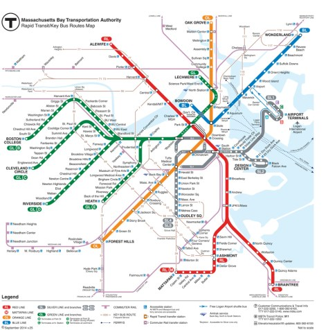 Boston MBTA Subway (T) map