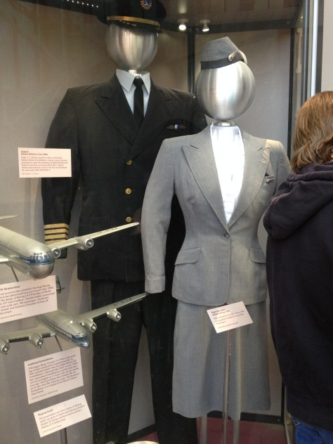 Eastern Airlines Captain uniform of the 1940s, and United Airlines Flight Attendant uniform of the 1946