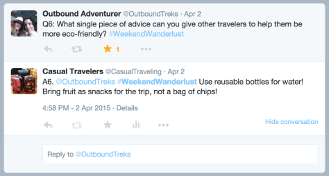sample of a question and an answer from a #WeekendWanderlust Twitter chat