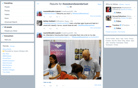 screenshot of the #WeekendWanderlust hashtag feed during the chat on April 16, 2015