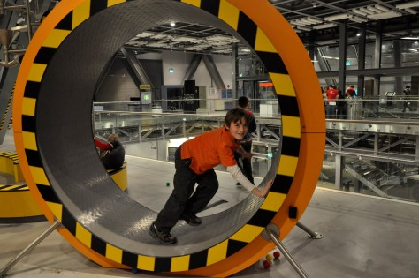 inside a giant hamster wheel at the Copernicus Science Centre in Warsaw, Poland