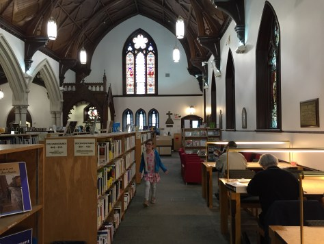Bibliothèque Saint-Jean-Baptiste, an Anglican Church turned into a library