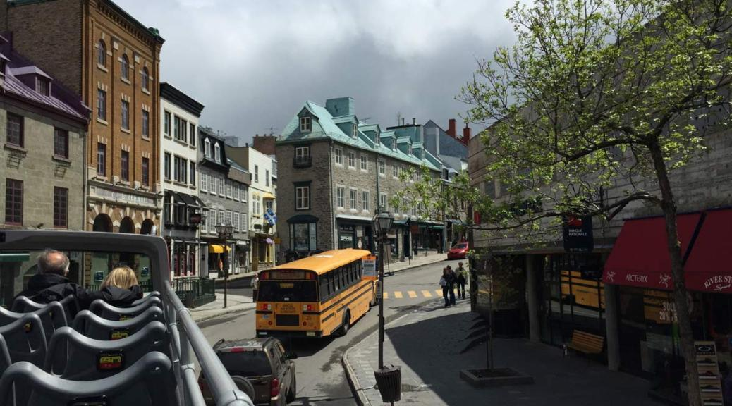 view from the top deck on rue Saint-Jean in the Old Quebec section of the city