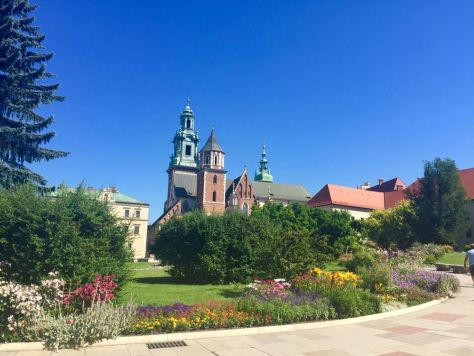 view of the Wawel Cathedral next to the Castle, where many kings and queens are buried