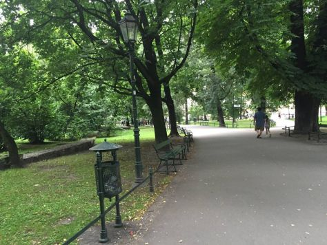 along the Planty Park in Krakow