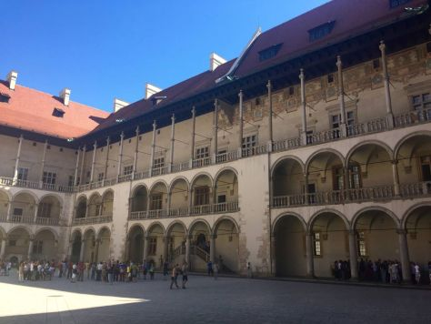 inside the Wawel Castle courtyard