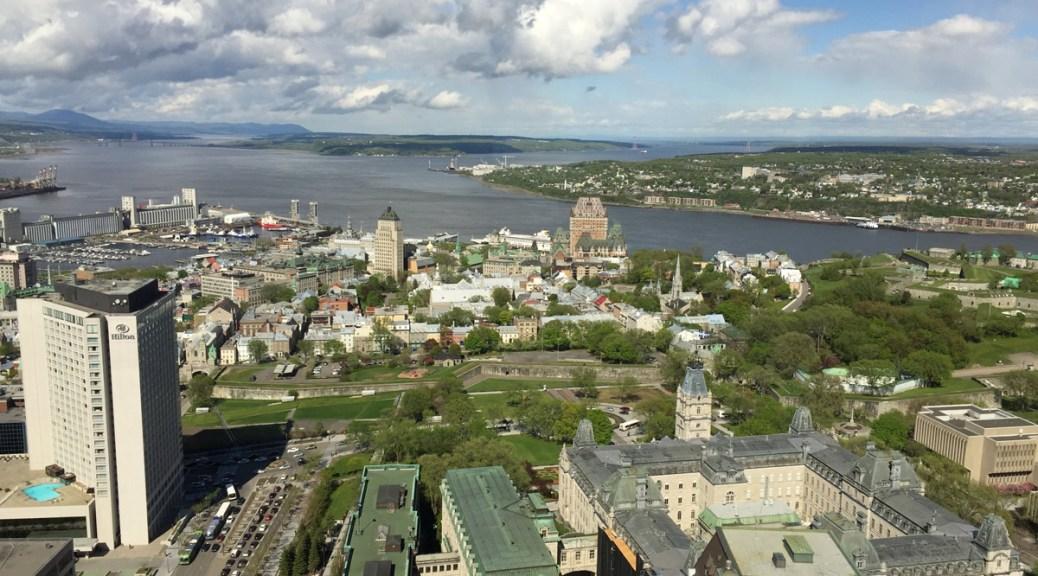view of Quebec City's Old Quebec from the Observatoire de la Capitale