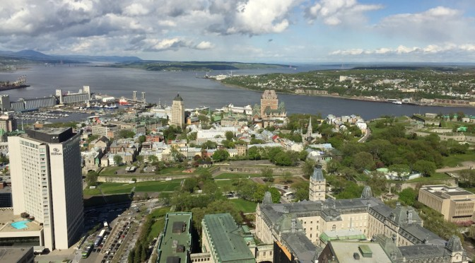 view of Quebec City's Old Quebec from the Observatoire de la Capitale