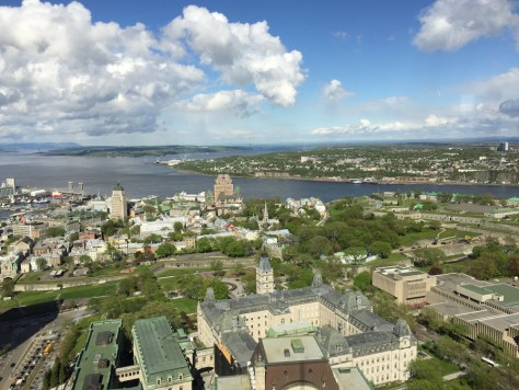view from the Observatoire de la Capitale toward Old Quebec and the citadel