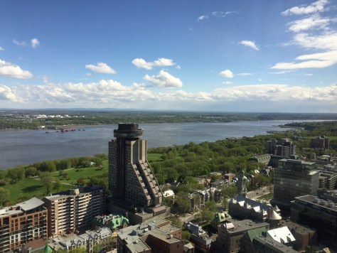 view toward the West from the Observatoire de la Capitale, with St. Lawrence River in the background