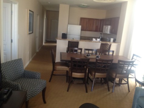 kitchen and the dining area in our suite at the Wyndham in Myrtle Beach