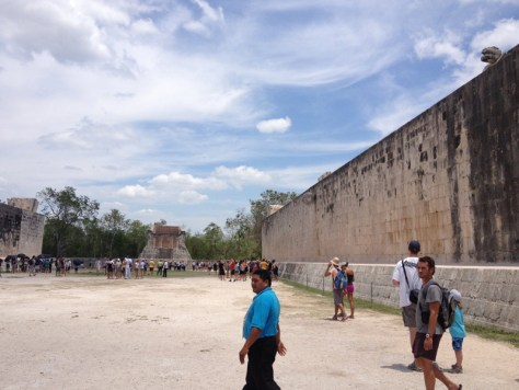 the ball court of panoramic view of Chichen Itza, the largest in all Mesoamerica